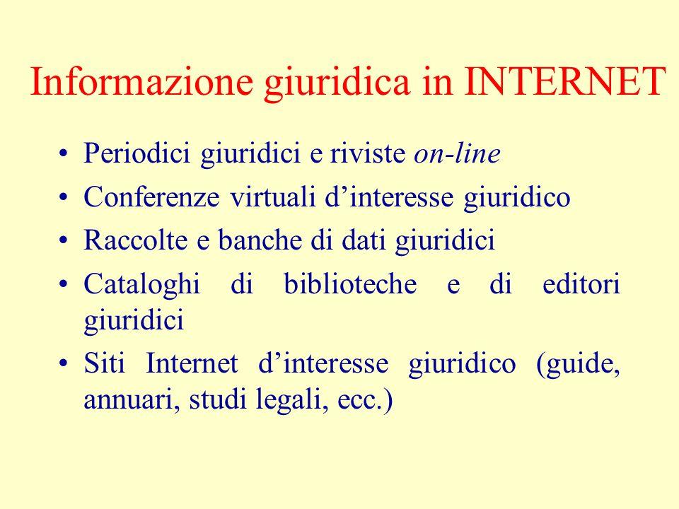 Informazione giuridica in INTERNET Periodici giuridici e riviste on-line Conferenze virtuali dinteresse giuridico Raccolte e banche di dati giuridici