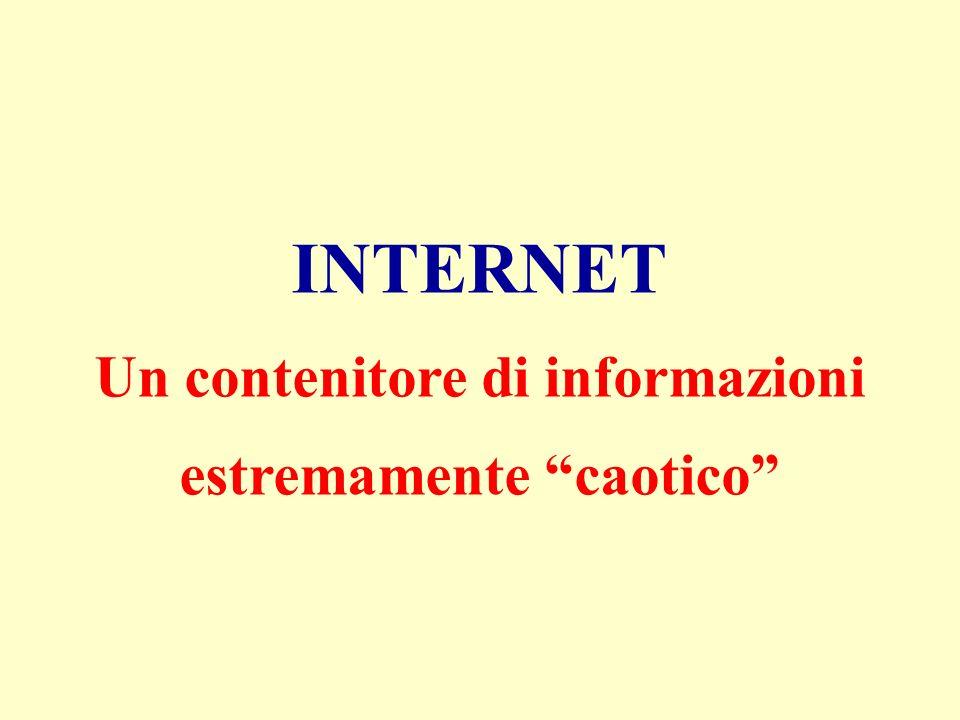 INTERNET Un contenitore di informazioni estremamente caotico