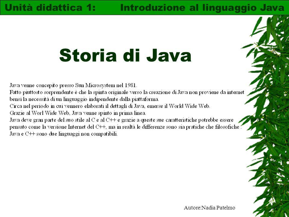 Autore:Nadia Patelmo Storia di Java Unità didattica 1: Introduzione al linguaggio Java