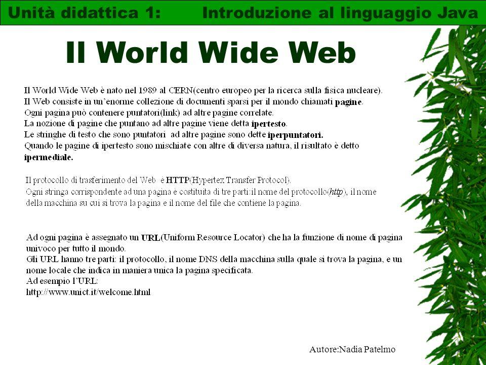 Autore:Nadia Patelmo Il World Wide Web Unità didattica 1: Introduzione al linguaggio Java