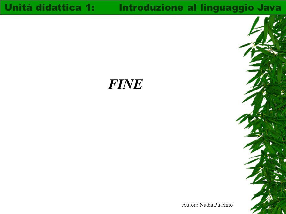 Autore:Nadia Patelmo FINE Unità didattica 1: Introduzione al linguaggio Java