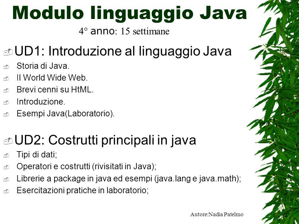 Autore:Nadia Patelmo Modulo linguaggio Java UD1: Introduzione al linguaggio Java Storia di Java.