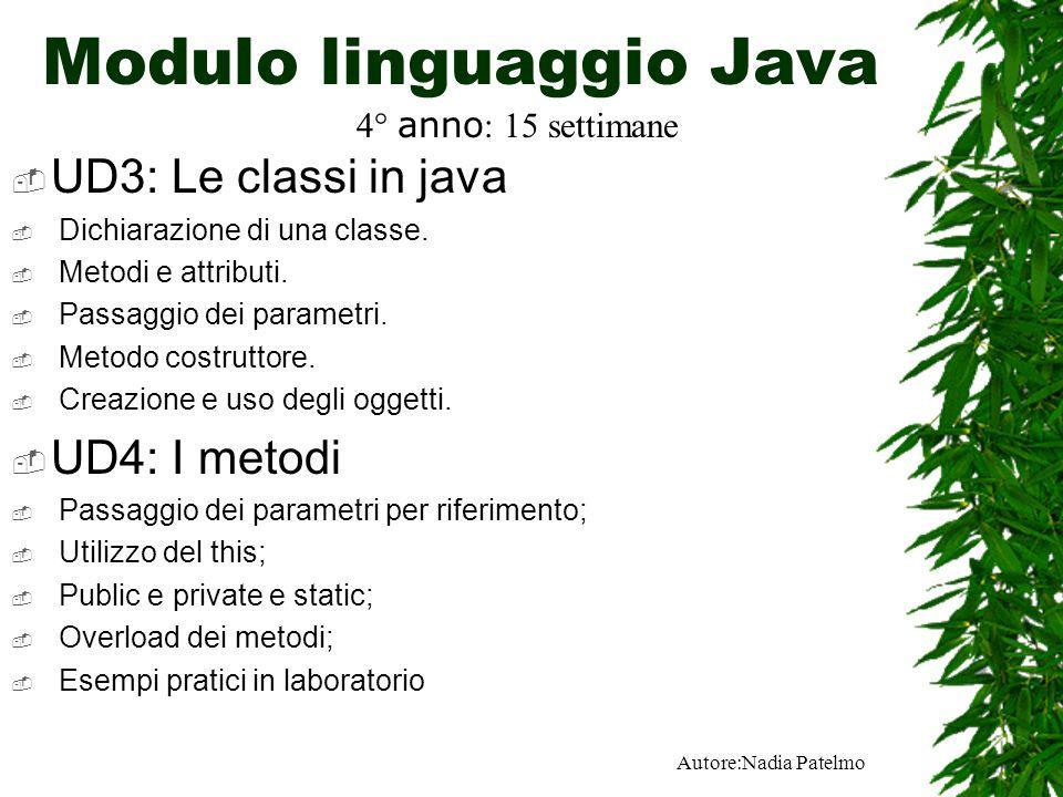 Autore:Nadia Patelmo Modulo linguaggio Java UD3: Le classi in java Dichiarazione di una classe.