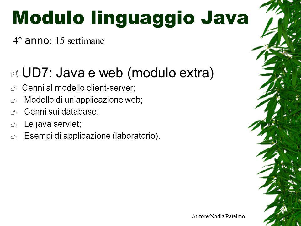 Autore:Nadia Patelmo Modulo linguaggio Java UD7: Java e web (modulo extra) Cenni al modello client-server; Modello di unapplicazione web; Cenni sui database; Le java servlet; Esempi di applicazione (laboratorio).