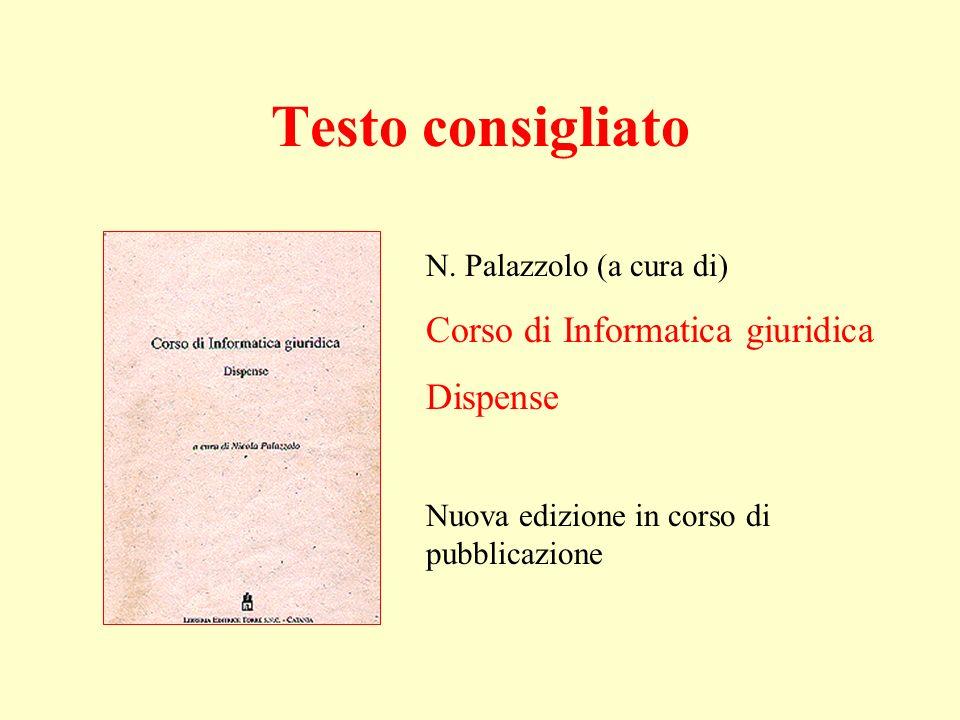 N. Palazzolo (a cura di) Corso di Informatica giuridica Dispense Nuova edizione in corso di pubblicazione Testo consigliato
