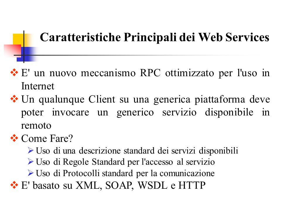 E' un nuovo meccanismo RPC ottimizzato per l'uso in Internet Un qualunque Client su una generica piattaforma deve poter invocare un generico servizio