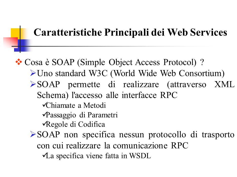 Caratteristiche Principali dei Web Services Cosa è WSDL (Web Service Description Language) .