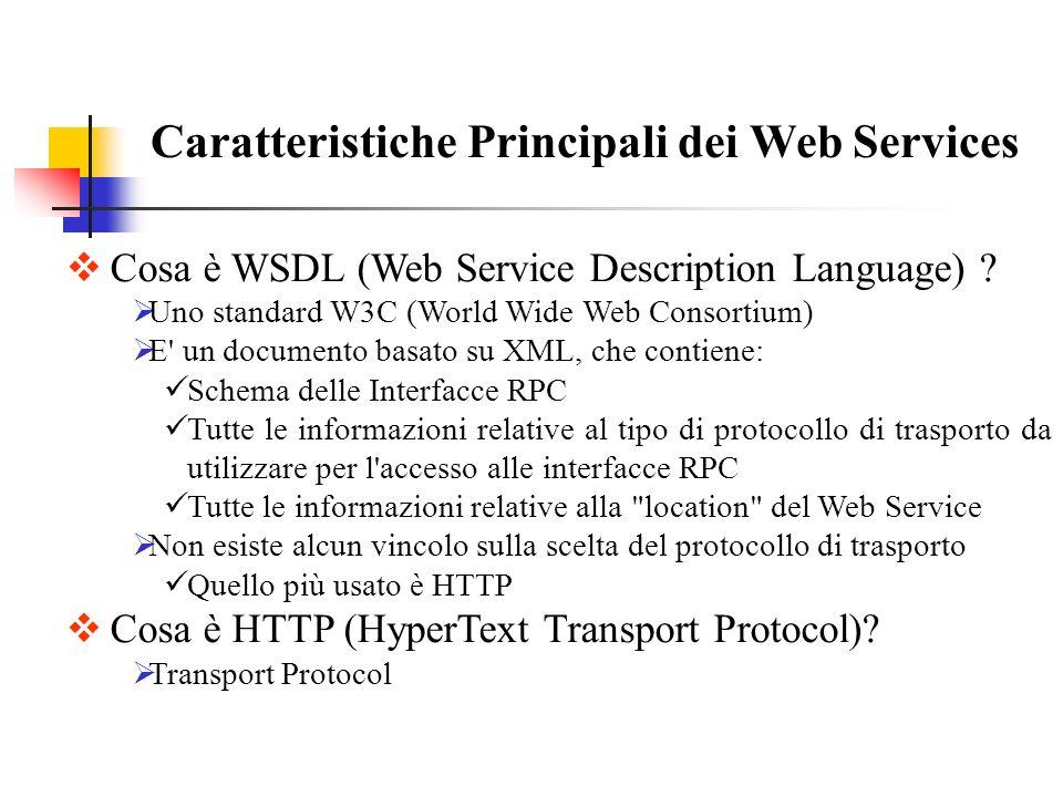 Caratteristiche Principali dei Web Services Cosa è WSDL (Web Service Description Language) ? Uno standard W3C (World Wide Web Consortium) E' un docume