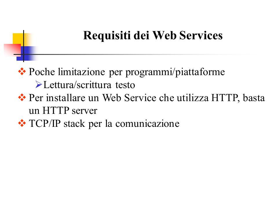 Requisiti dei Web Services Poche limitazione per programmi/piattaforme Lettura/scrittura testo Per installare un Web Service che utilizza HTTP, basta un HTTP server TCP/IP stack per la comunicazione