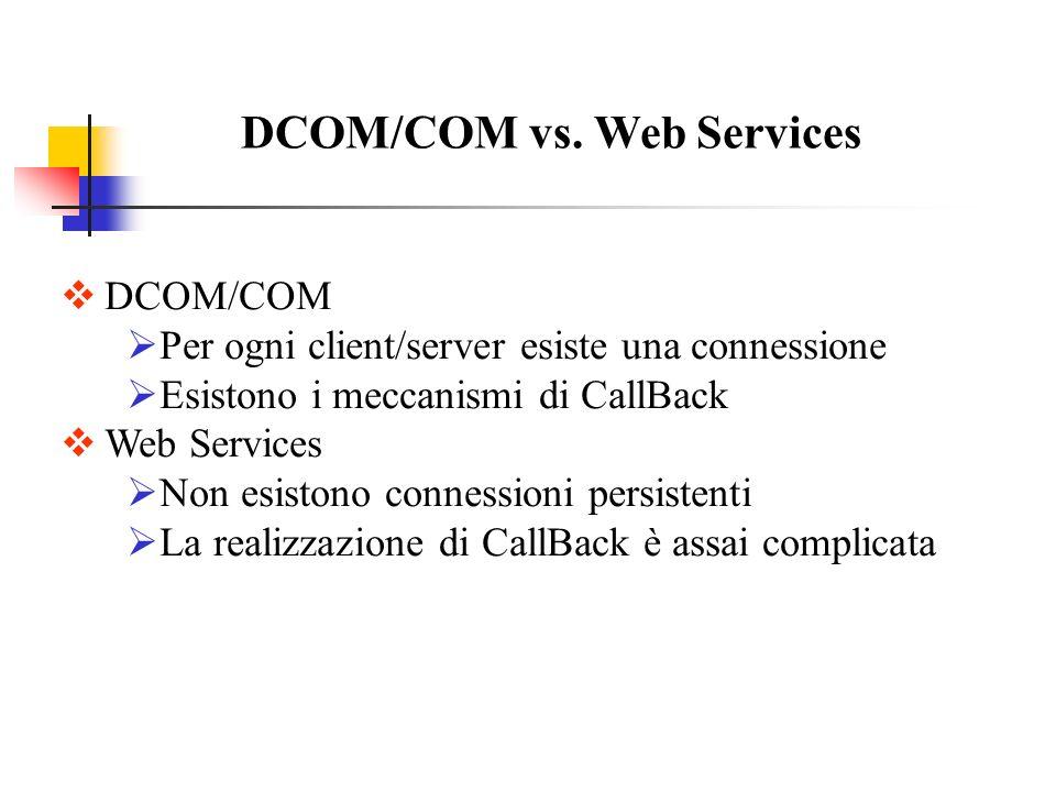 DCOM/COM vs. Web Services DCOM/COM Per ogni client/server esiste una connessione Esistono i meccanismi di CallBack Web Services Non esistono connessio