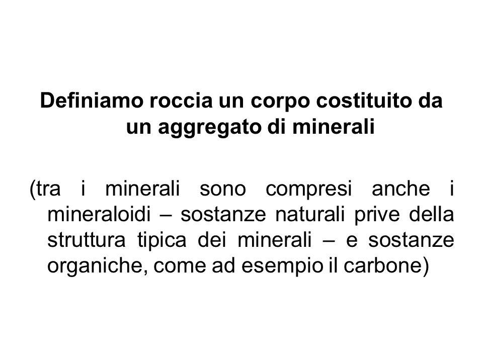 Definiamo roccia un corpo costituito da un aggregato di minerali (tra i minerali sono compresi anche i mineraloidi – sostanze naturali prive della str
