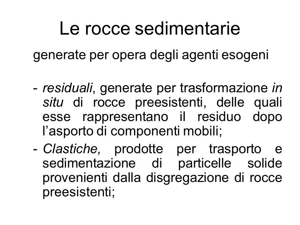 Le rocce sedimentarie generate per opera degli agenti esogeni -residuali, generate per trasformazione in situ di rocce preesistenti, delle quali esse