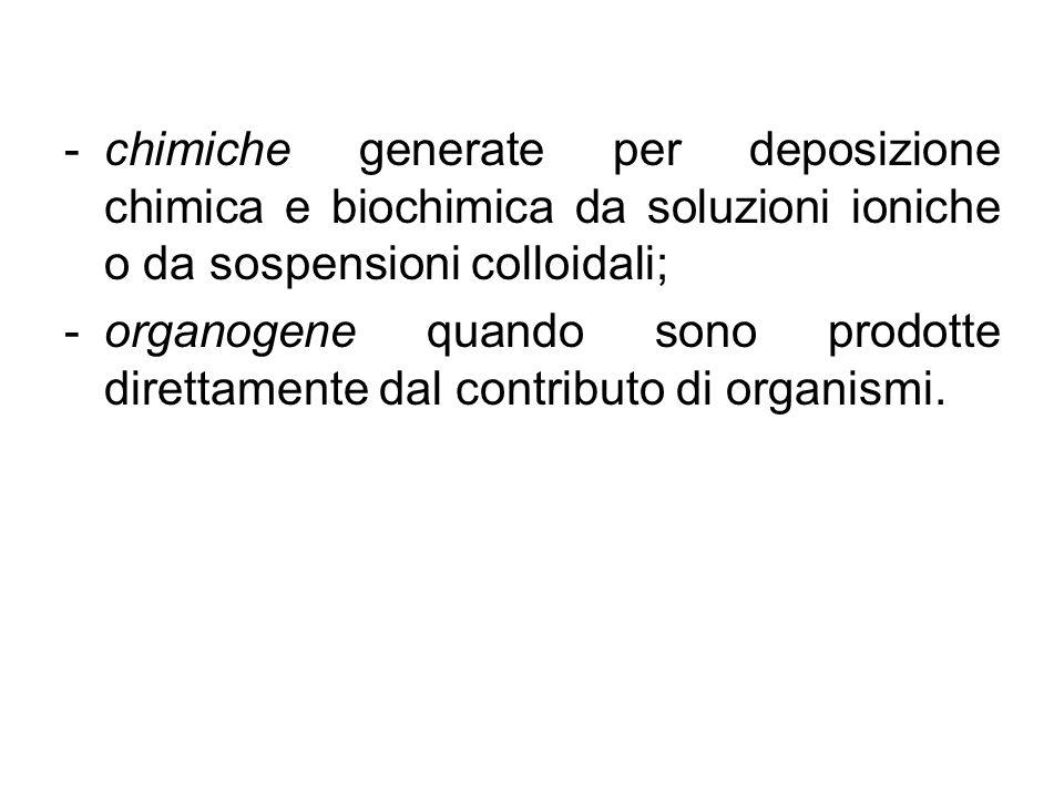 -chimiche generate per deposizione chimica e biochimica da soluzioni ioniche o da sospensioni colloidali; -organogene quando sono prodotte direttament
