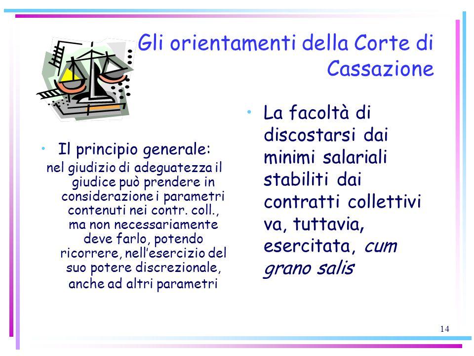 14 Gli orientamenti della Corte di Cassazione Il principio generale: nel giudizio di adeguatezza il giudice può prendere in considerazione i parametri