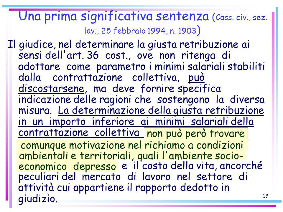 15 Una prima significativa sentenza ( Cass. civ., sez. lav., 25 febbraio 1994, n. 1903 ) Il giudice, nel determinare la giusta retribuzione ai sensi d