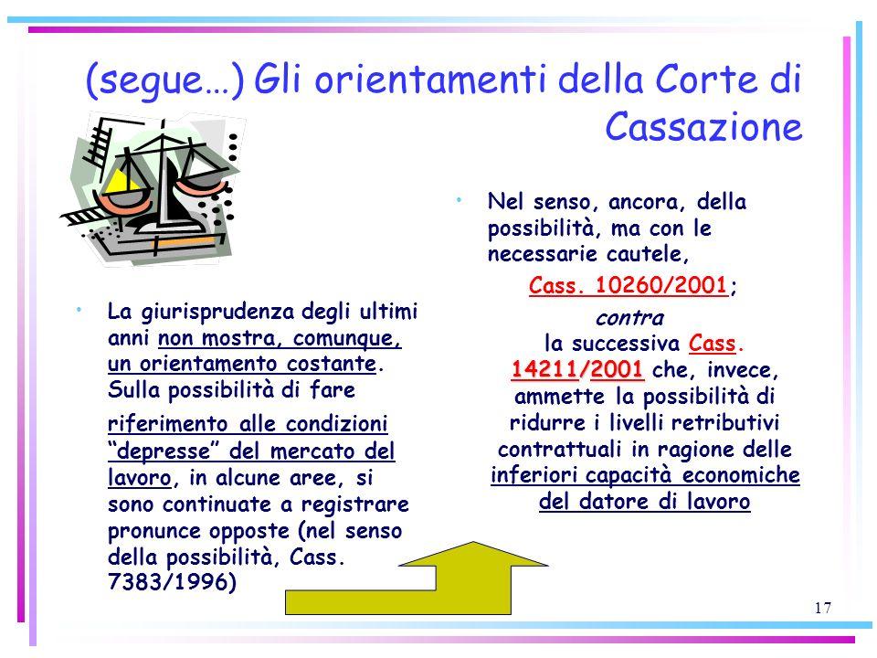17 (segue…) Gli orientamenti della Corte di Cassazione La giurisprudenza degli ultimi anni non mostra, comunque, un orientamento costante. Sulla possi