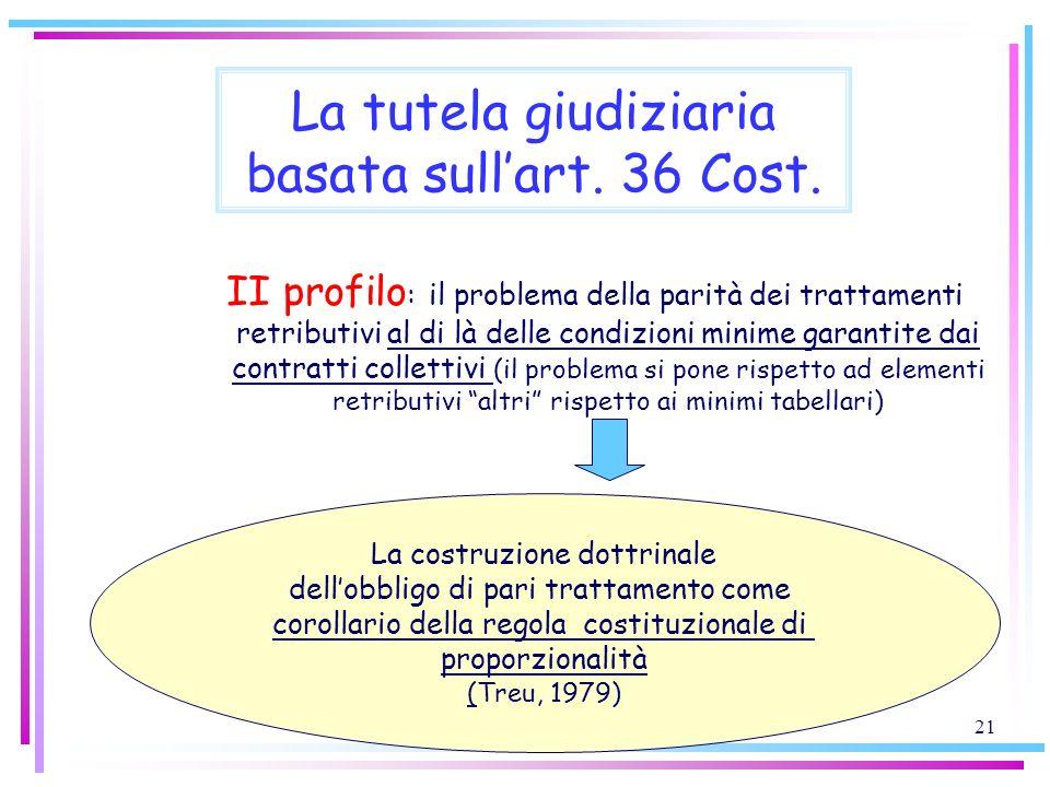 21 La tutela giudiziaria basata sullart. 36 Cost. II profilo : il problema della parità dei trattamenti retributivi al di là delle condizioni minime g