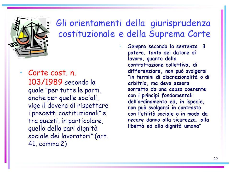 22 Gli orientamenti della giurisprudenza costituzionale e della Suprema Corte Corte cost. n. 103/1989 secondo la quale per tutte le parti, anche per q
