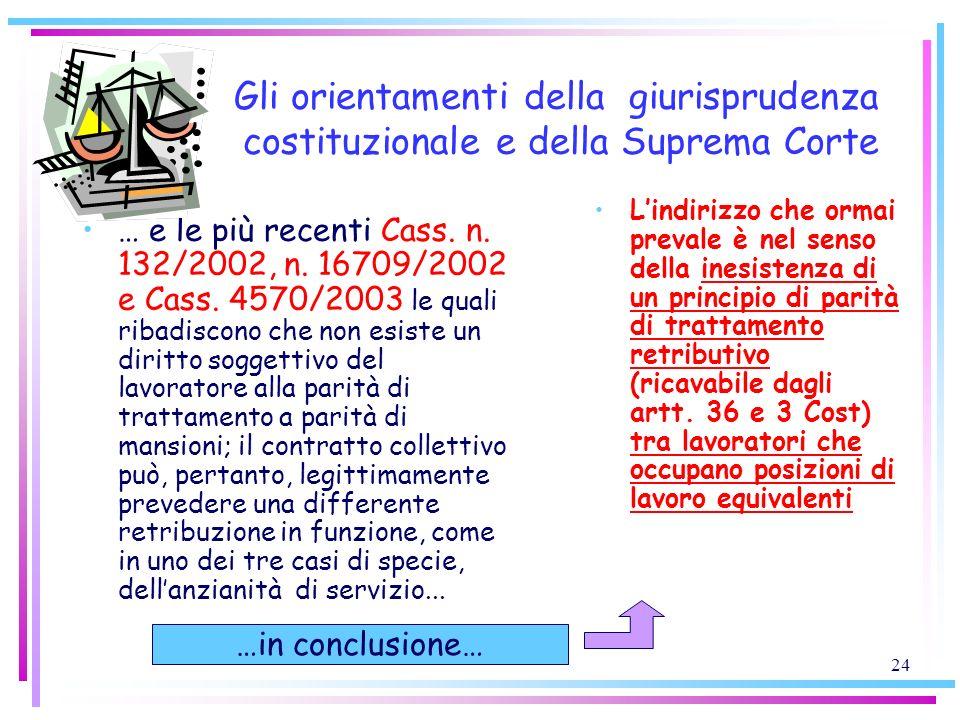 24 Gli orientamenti della giurisprudenza costituzionale e della Suprema Corte … e le più recenti Cass. n. 132/2002, n. 16709/2002 e Cass. 4570/2003 le