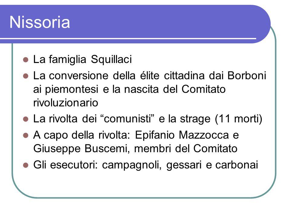 Nissoria La famiglia Squillaci La conversione della élite cittadina dai Borboni ai piemontesi e la nascita del Comitato rivoluzionario La rivolta dei