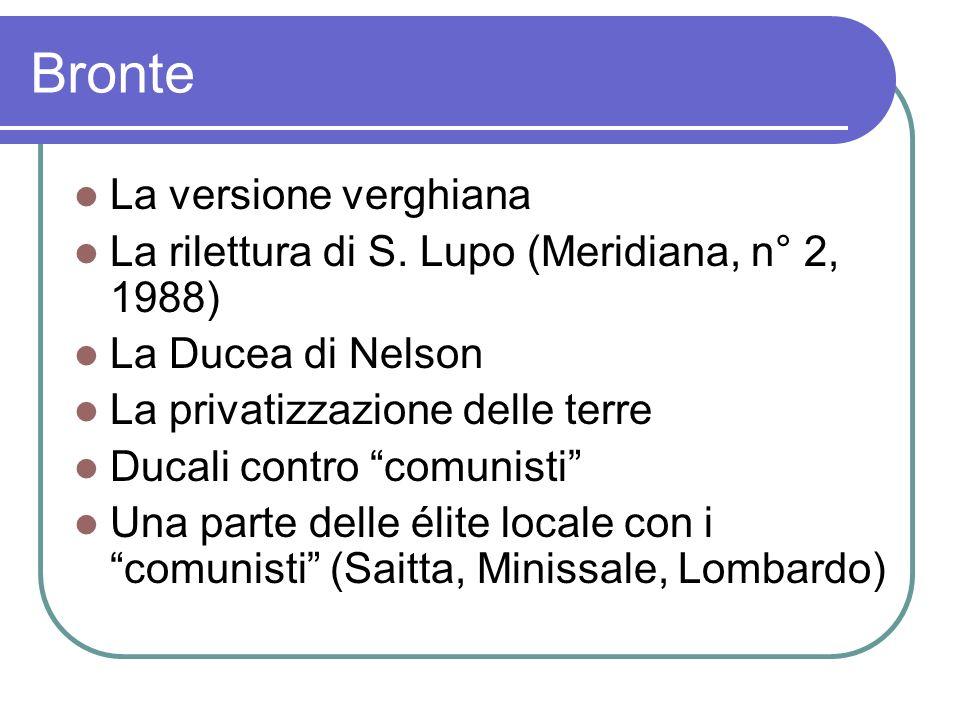 Bronte La versione verghiana La rilettura di S. Lupo (Meridiana, n° 2, 1988) La Ducea di Nelson La privatizzazione delle terre Ducali contro comunisti