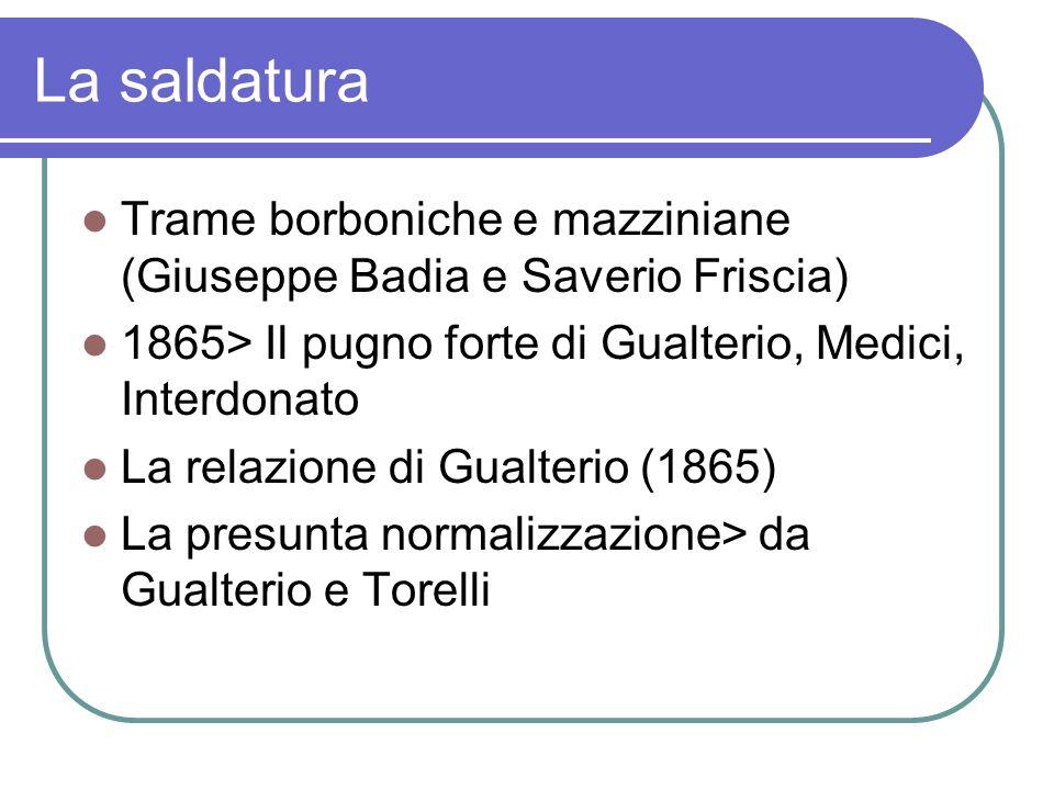 La saldatura Trame borboniche e mazziniane (Giuseppe Badia e Saverio Friscia) 1865> Il pugno forte di Gualterio, Medici, Interdonato La relazione di G