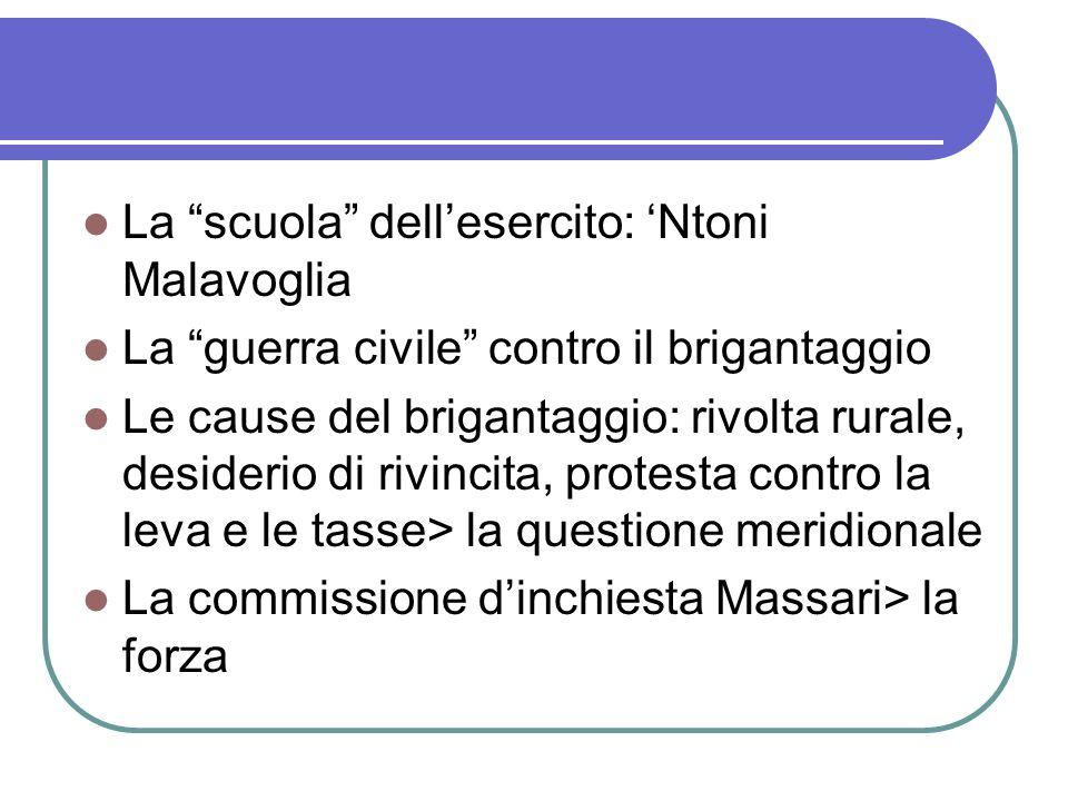 La scuola dellesercito: Ntoni Malavoglia La guerra civile contro il brigantaggio Le cause del brigantaggio: rivolta rurale, desiderio di rivincita, pr