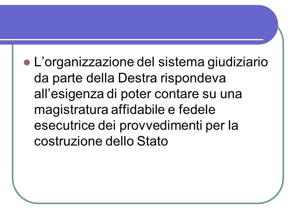 Lorganizzazione del sistema giudiziario da parte della Destra rispondeva allesigenza di poter contare su una magistratura affidabile e fedele esecutrice dei provvedimenti per la costruzione dello Stato
