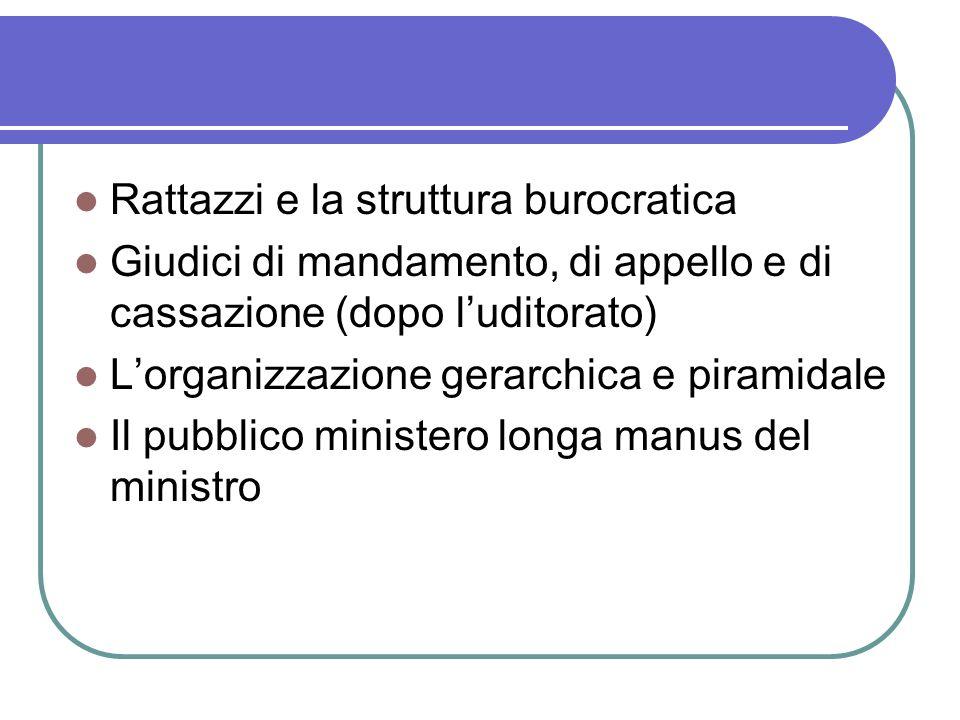Rattazzi e la struttura burocratica Giudici di mandamento, di appello e di cassazione (dopo luditorato) Lorganizzazione gerarchica e piramidale Il pubblico ministero longa manus del ministro