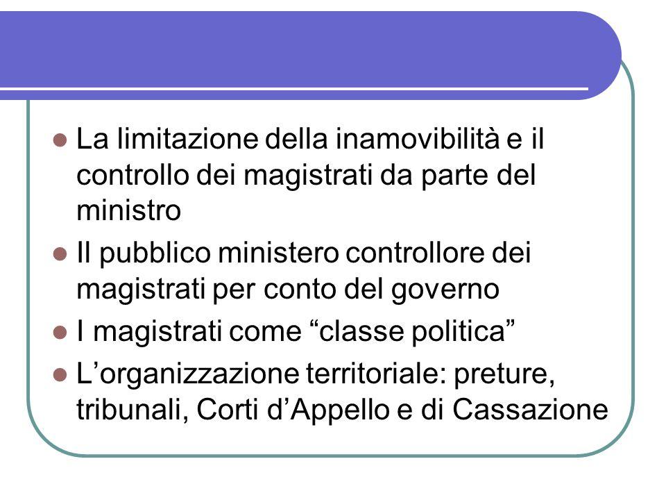 La limitazione della inamovibilità e il controllo dei magistrati da parte del ministro Il pubblico ministero controllore dei magistrati per conto del