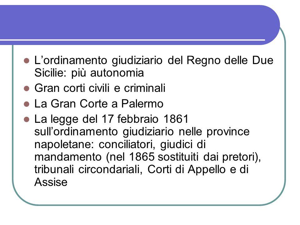 Lordinamento giudiziario del Regno delle Due Sicilie: più autonomia Gran corti civili e criminali La Gran Corte a Palermo La legge del 17 febbraio 186