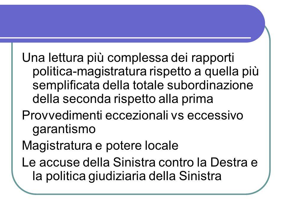 Una lettura più complessa dei rapporti politica-magistratura rispetto a quella più semplificata della totale subordinazione della seconda rispetto all