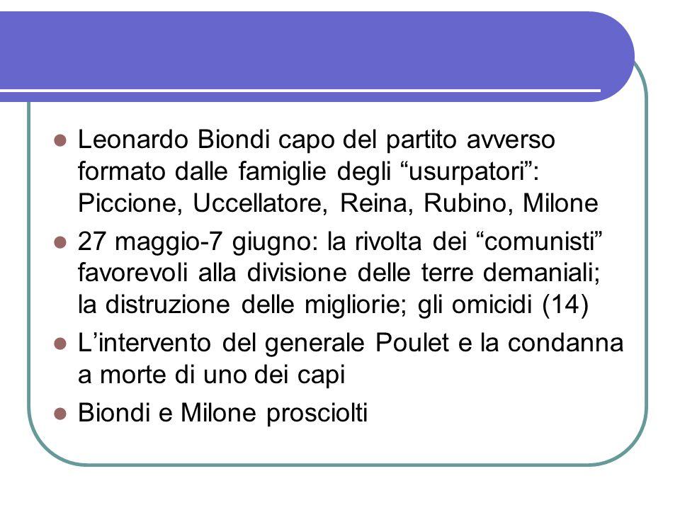 Leonardo Biondi capo del partito avverso formato dalle famiglie degli usurpatori: Piccione, Uccellatore, Reina, Rubino, Milone 27 maggio-7 giugno: la