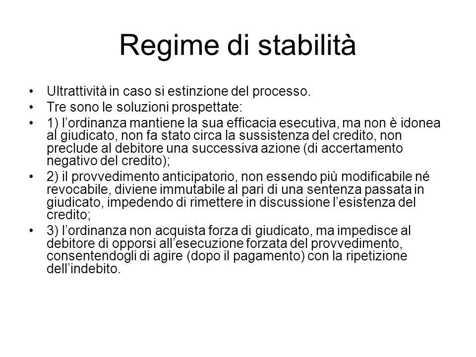 Regime di stabilità Ultrattività in caso si estinzione del processo.