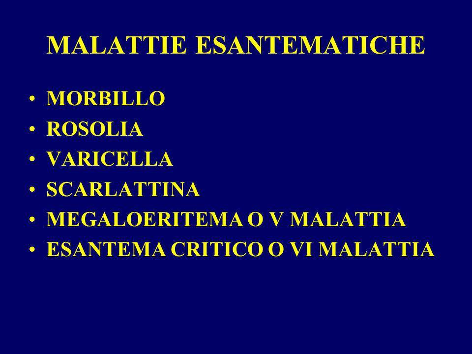 ROSOLIA POSTNATALE Eziologia: virus a RNA Contagio: diretto con gocce di saliva da una settimana prima della comparsa dellesantema fino a 5 giorni dopo comparsa dellesantema.