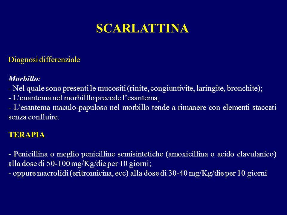 Diagnosi differenziale Morbillo: - Nel quale sono presenti le mucositi (rinite, congiuntivite, laringite, bronchite); - Lenantema nel morbilllo preced