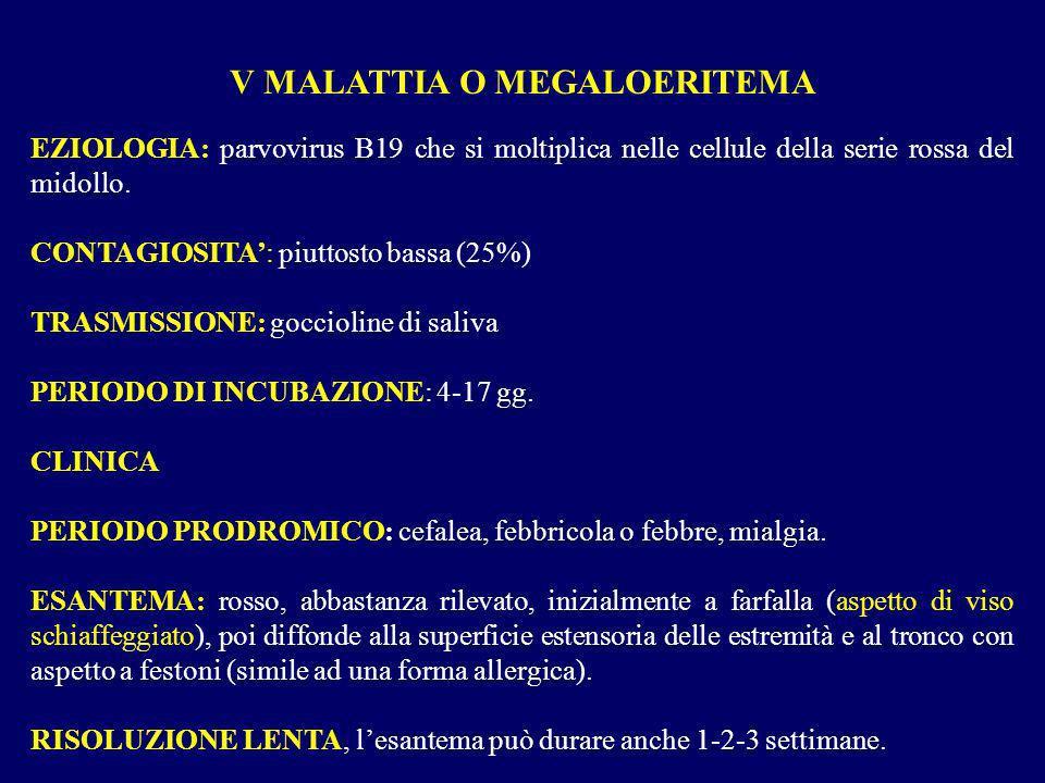 EZIOLOGIA: parvovirus B19 che si moltiplica nelle cellule della serie rossa del midollo. CONTAGIOSITA: piuttosto bassa (25%) TRASMISSIONE: goccioline