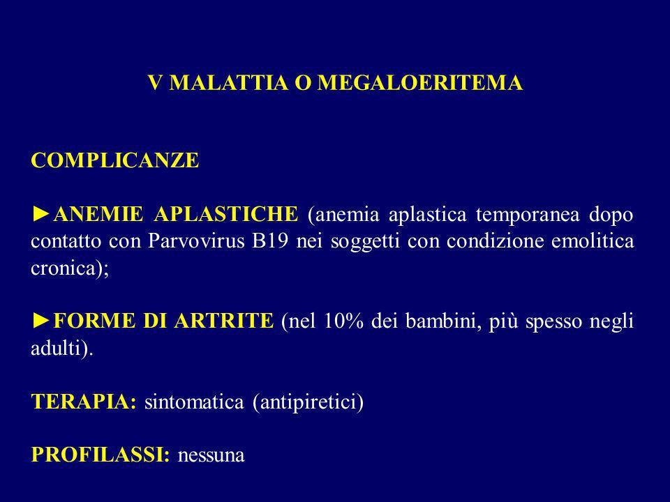 COMPLICANZE ANEMIE APLASTICHE (anemia aplastica temporanea dopo contatto con Parvovirus B19 nei soggetti con condizione emolitica cronica); FORME DI A