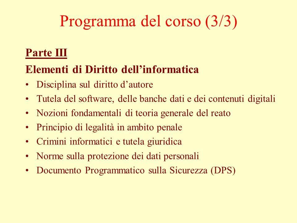 Programma del corso (3/3) Parte III Elementi di Diritto dellinformatica Disciplina sul diritto dautore Tutela del software, delle banche dati e dei co