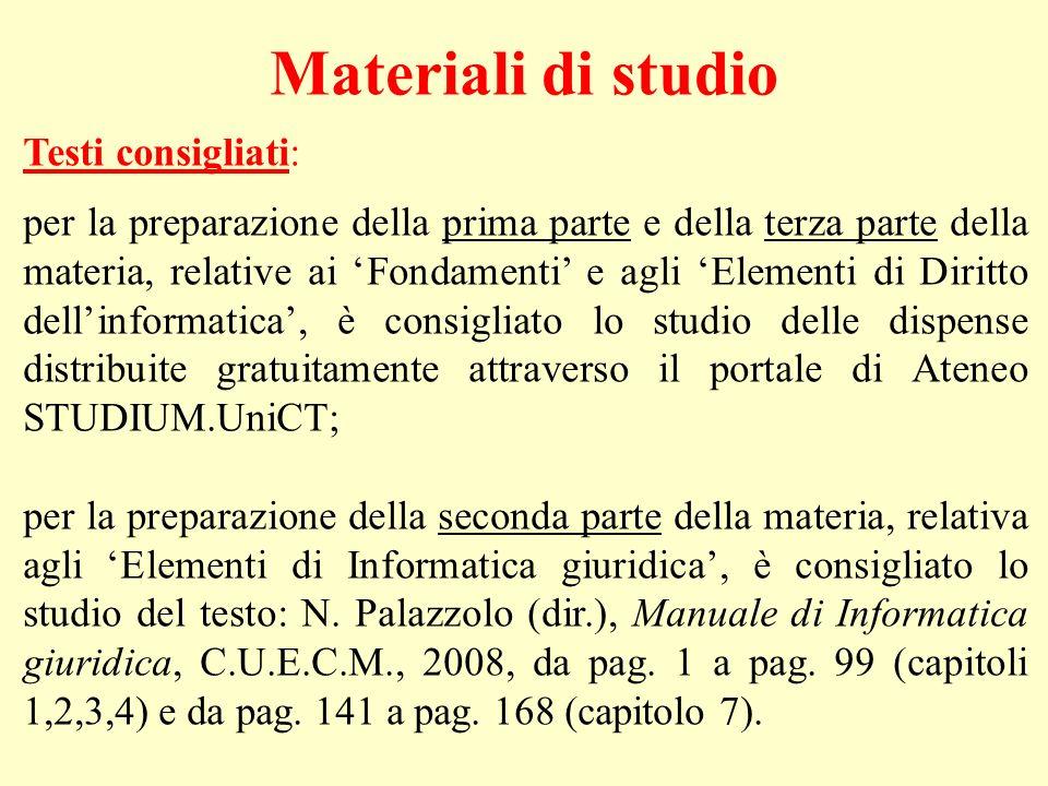 Materiali di studio Testi consigliati: per la preparazione della prima parte e della terza parte della materia, relative ai Fondamenti e agli Elementi