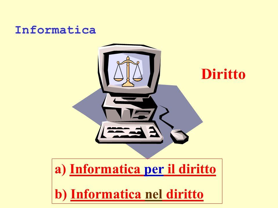 Informatica a) Informatica per il diritto b) Informatica nel diritto Diritto