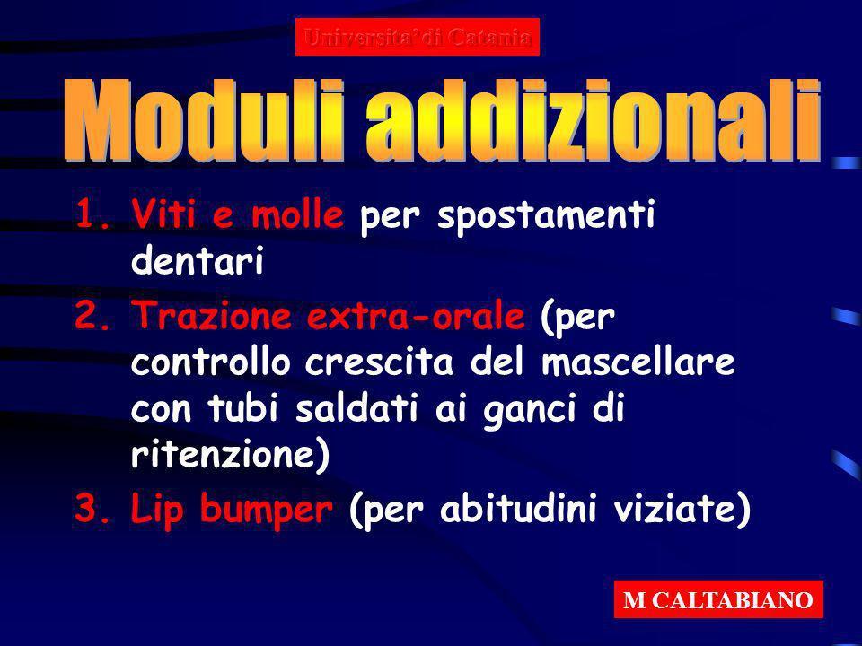1.Viti e molle per spostamenti dentari 2.Trazione extra-orale (per controllo crescita del mascellare con tubi saldati ai ganci di ritenzione) 3.Lip bu