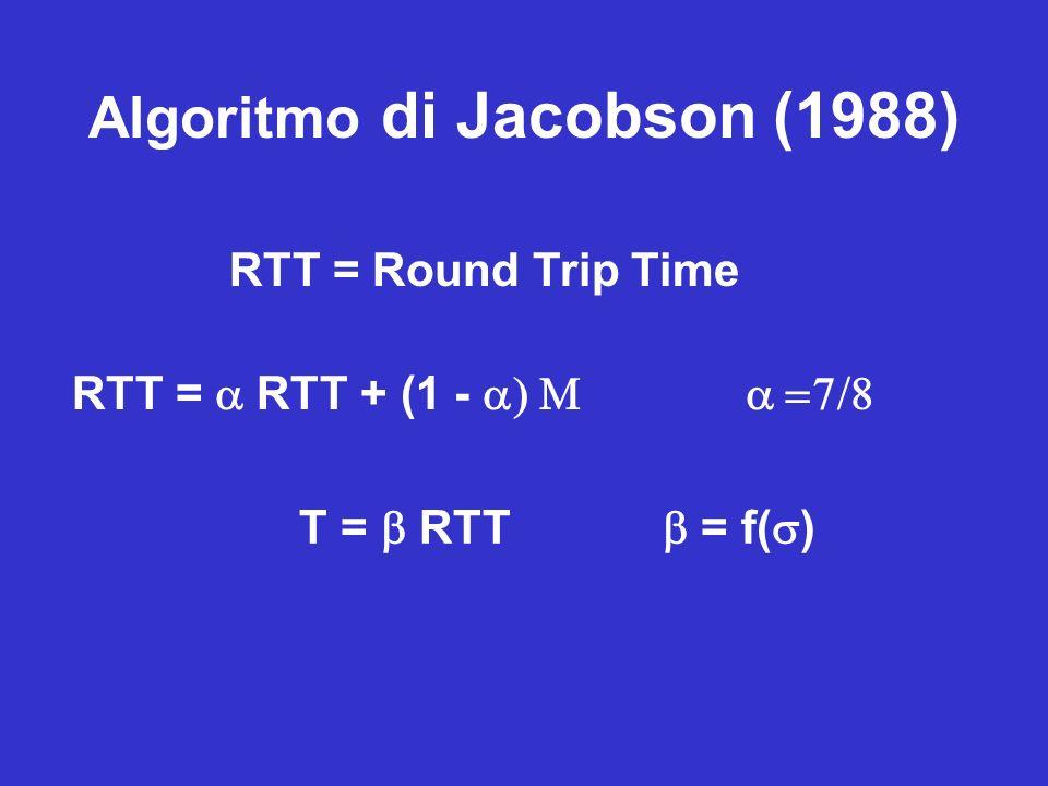 Algoritmo di Jacobson (1988) RTT = Round Trip Time RTT = RTT + (1 - T = RTT = f( )