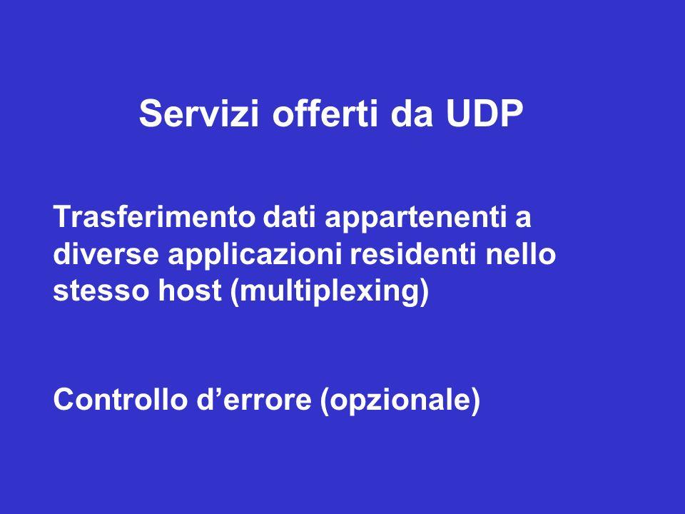 Servizi offerti da UDP Trasferimento dati appartenenti a diverse applicazioni residenti nello stesso host (multiplexing) Controllo derrore (opzionale)