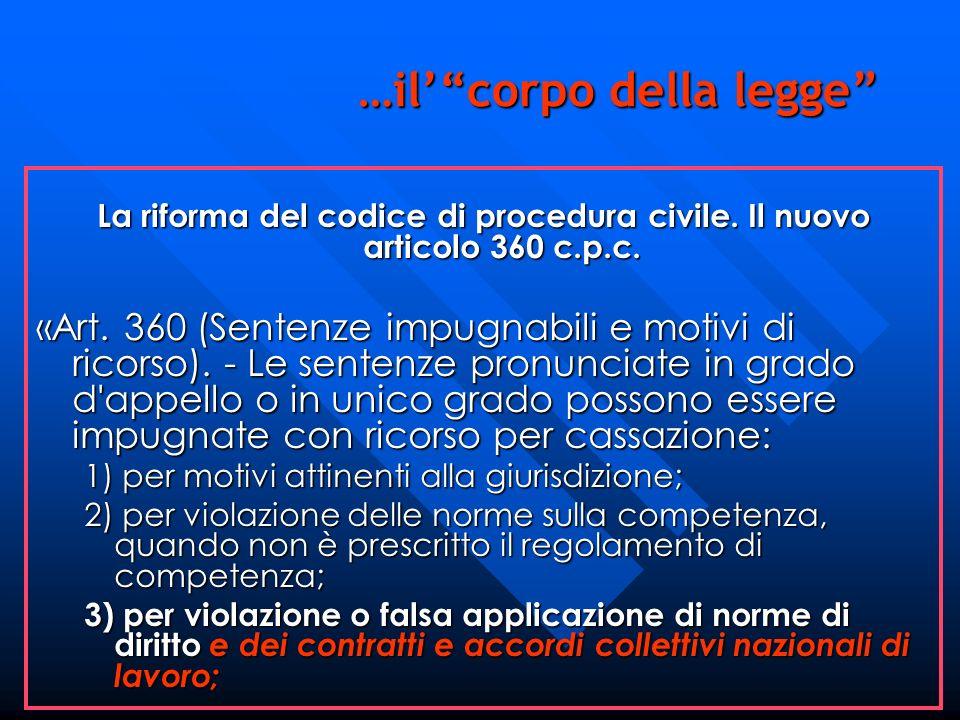 La riforma del codice di procedura civile. Il nuovo articolo 360 c.p.c. «Art. 360 (Sentenze impugnabili e motivi di ricorso). - Le sentenze pronunciat
