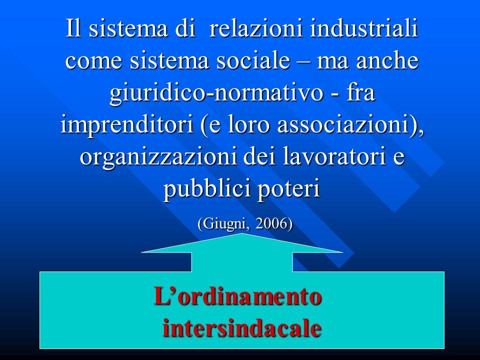 Il sistema di relazioni industriali come sistema sociale – ma anche giuridico-normativo - fra imprenditori (e loro associazioni), organizzazioni dei l