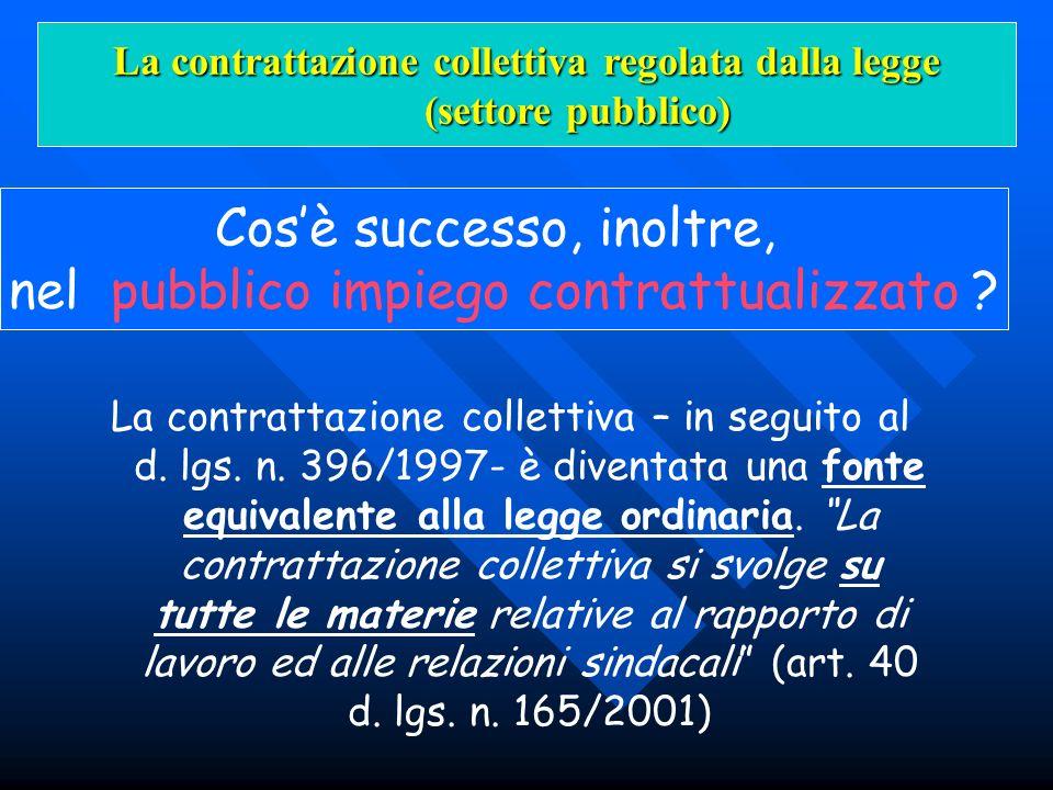 La contrattazione collettiva – in seguito al d. lgs. n. 396/1997- è diventata una fonte equivalente alla legge ordinaria. La contrattazione collettiva