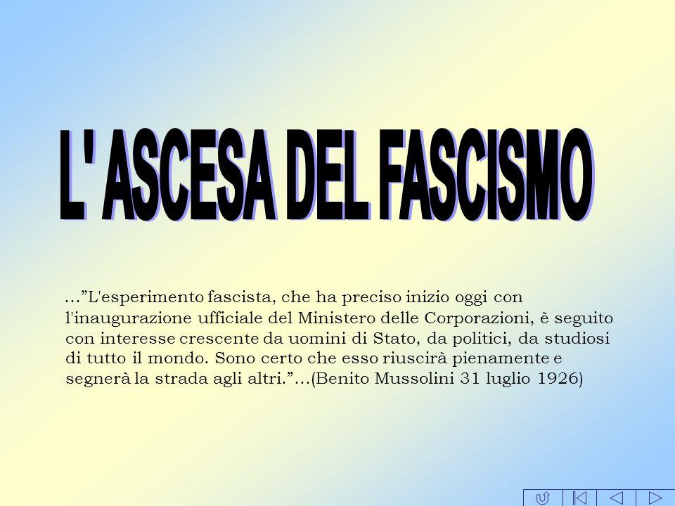 …L'esperimento fascista, che ha preciso inizio oggi con l'inaugurazione ufficiale del Ministero delle Corporazioni, è seguito con interesse crescente