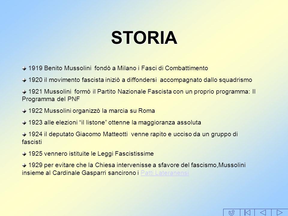 STORIA 1919 Benito Mussolini fondò a Milano i Fasci di Combattimento 1920 il movimento fascista iniziò a diffondersi accompagnato dallo squadrismo 192