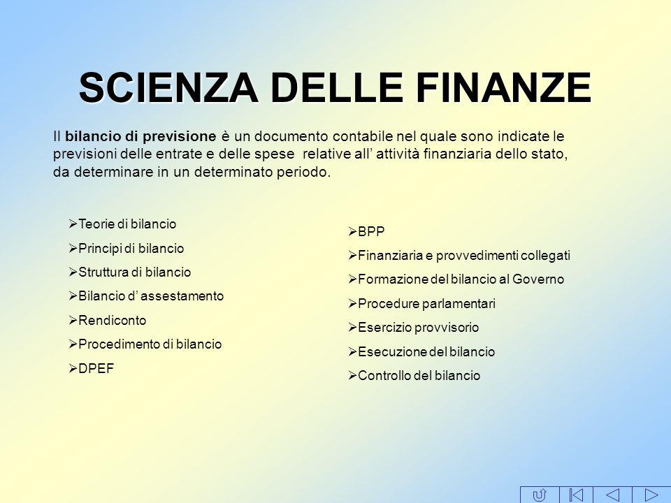 SCIENZA DELLE FINANZE Il bilancio di previsione è un documento contabile nel quale sono indicate le previsioni delle entrate e delle spese relative al